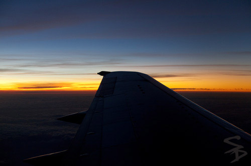 Airplane Wing at Sunrise