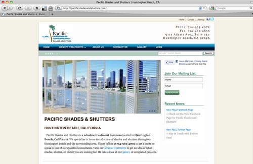 Pacific Shades and Shutters Website