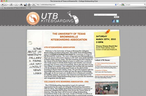 University of Texas Brownsville Kiteboarding Website